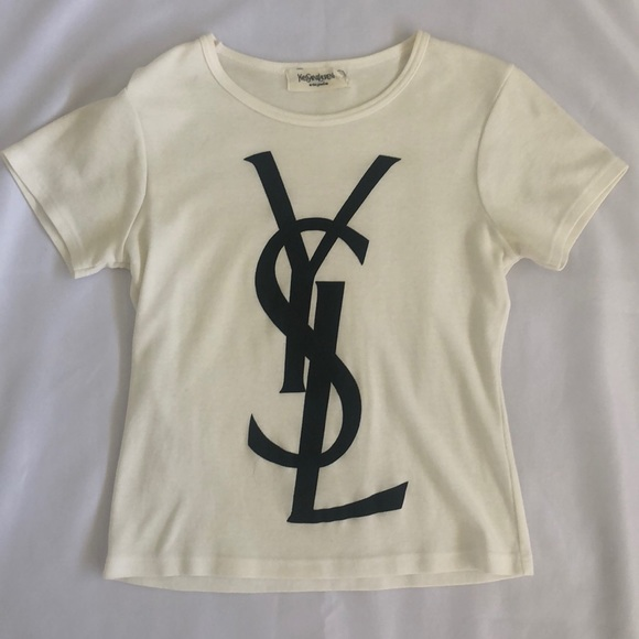 3d83b55d4 Yves Saint Laurent Tops | Ysl Logo Tee Shirt Women Small | Poshmark